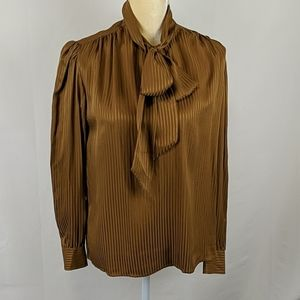 Vintage Levante 100% Silk Blouse with Bow